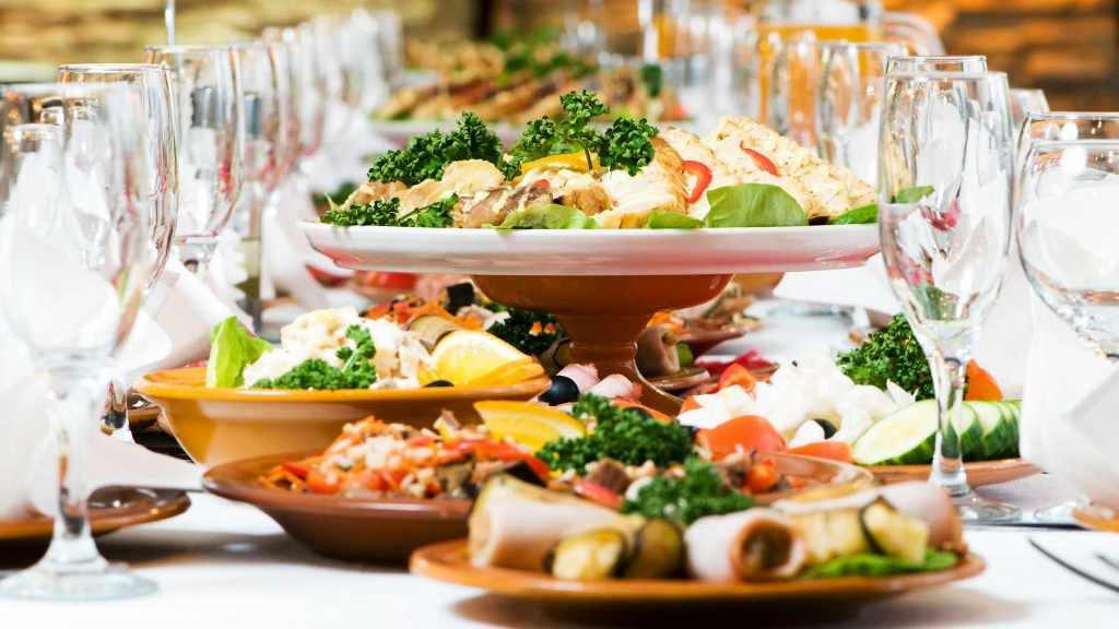 holiday dinner table with healthy food