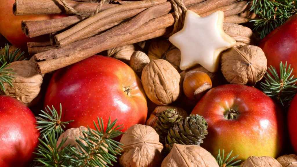 holiday fruits and nuts, cookies and treats