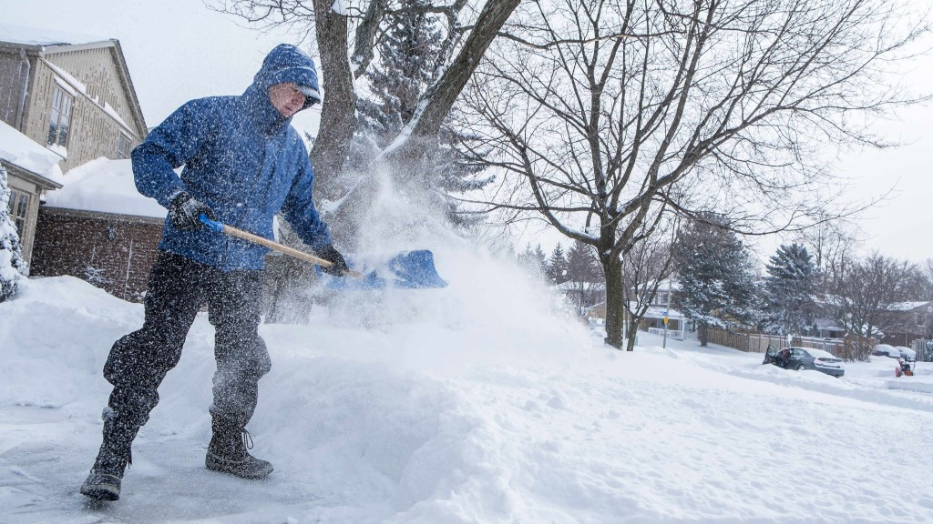 man shoveling snow from sidewalk after storm