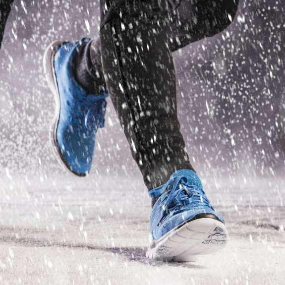 people running, jogging in winter snow and on icy path 1 x 1 square