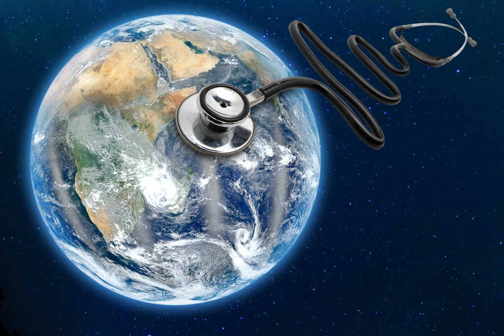 """the earth, world, globe with stethoscope """"listening"""""""