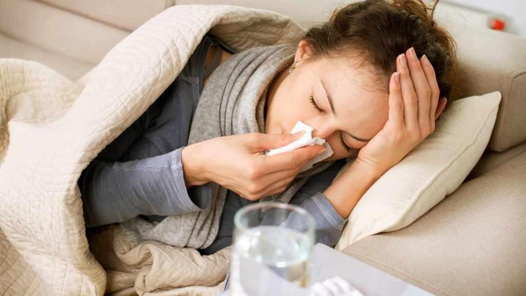 sick woman, flu, cold, tissue, headache
