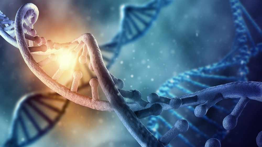 Concepto de la bioquímica con una molécula de ADN sobre un trasfondo azul