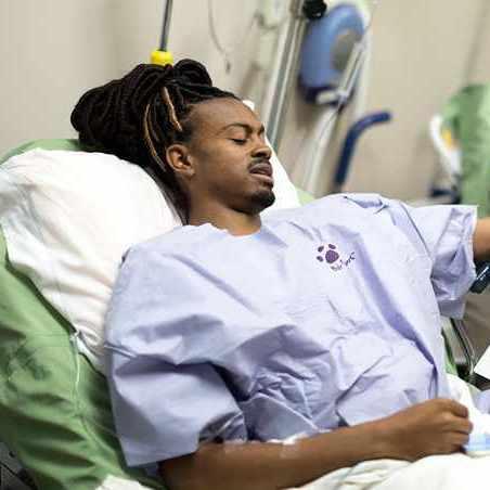 Man in hospital for kidney transplant