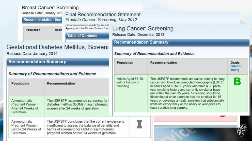 computer screen images of several health screening directions and guidelines