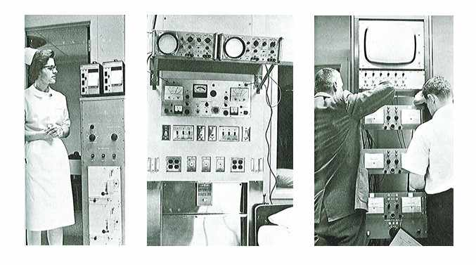 1965 patient monitors being installed at St. Marys