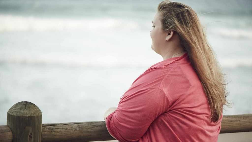 side view of an overweight woman