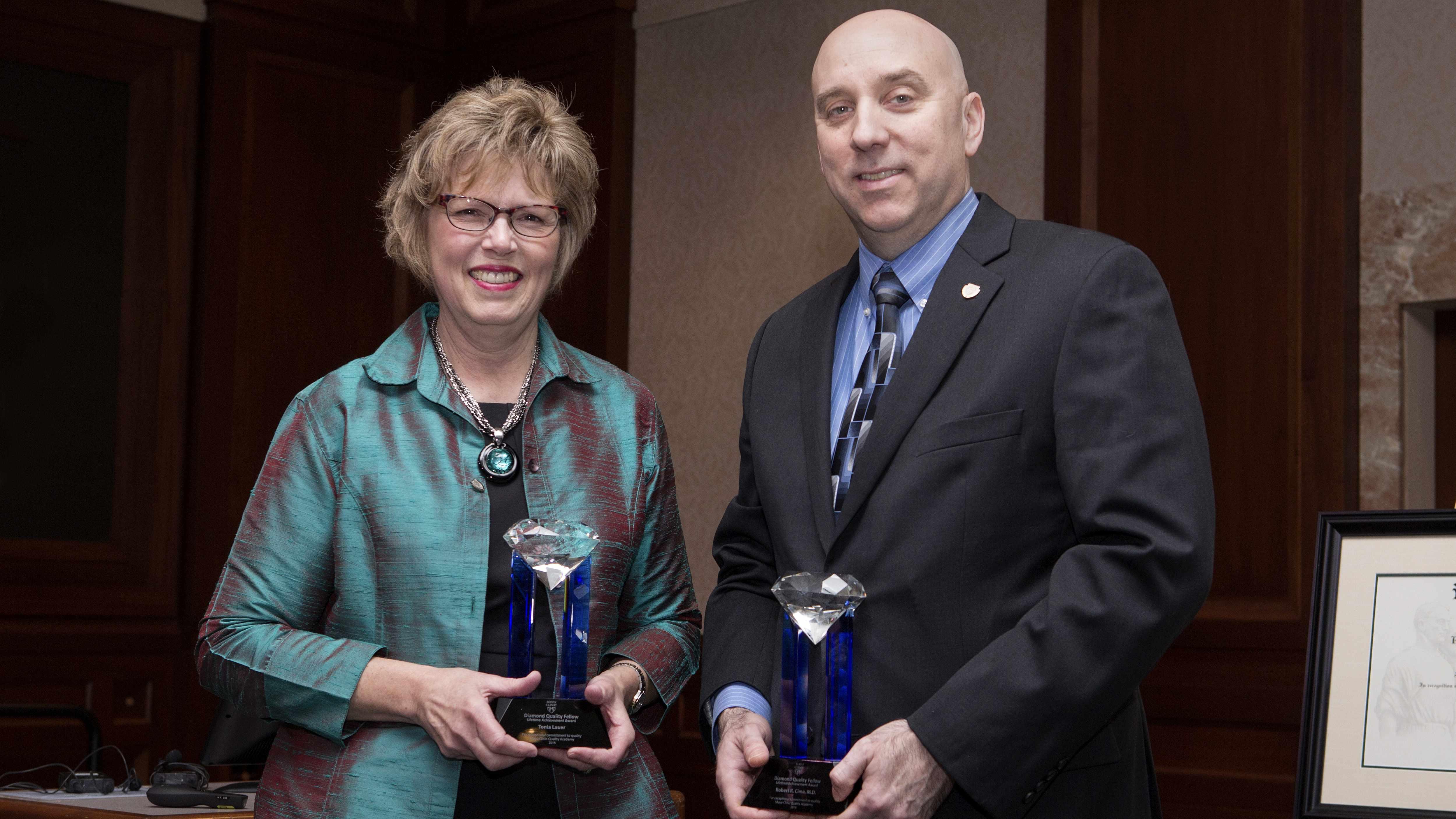 Diamond Quality Award Winners Tonia Lauer and Dr. Robert Cima