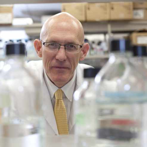 Dr. Greg Poland working in vaccine research lab