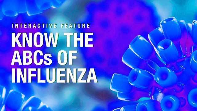 """Las palabras """"Aprenda el abecé de la influenza"""" sobre trasfondo azul"""