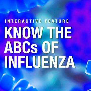 Know the ABCs of Influenza on blue background