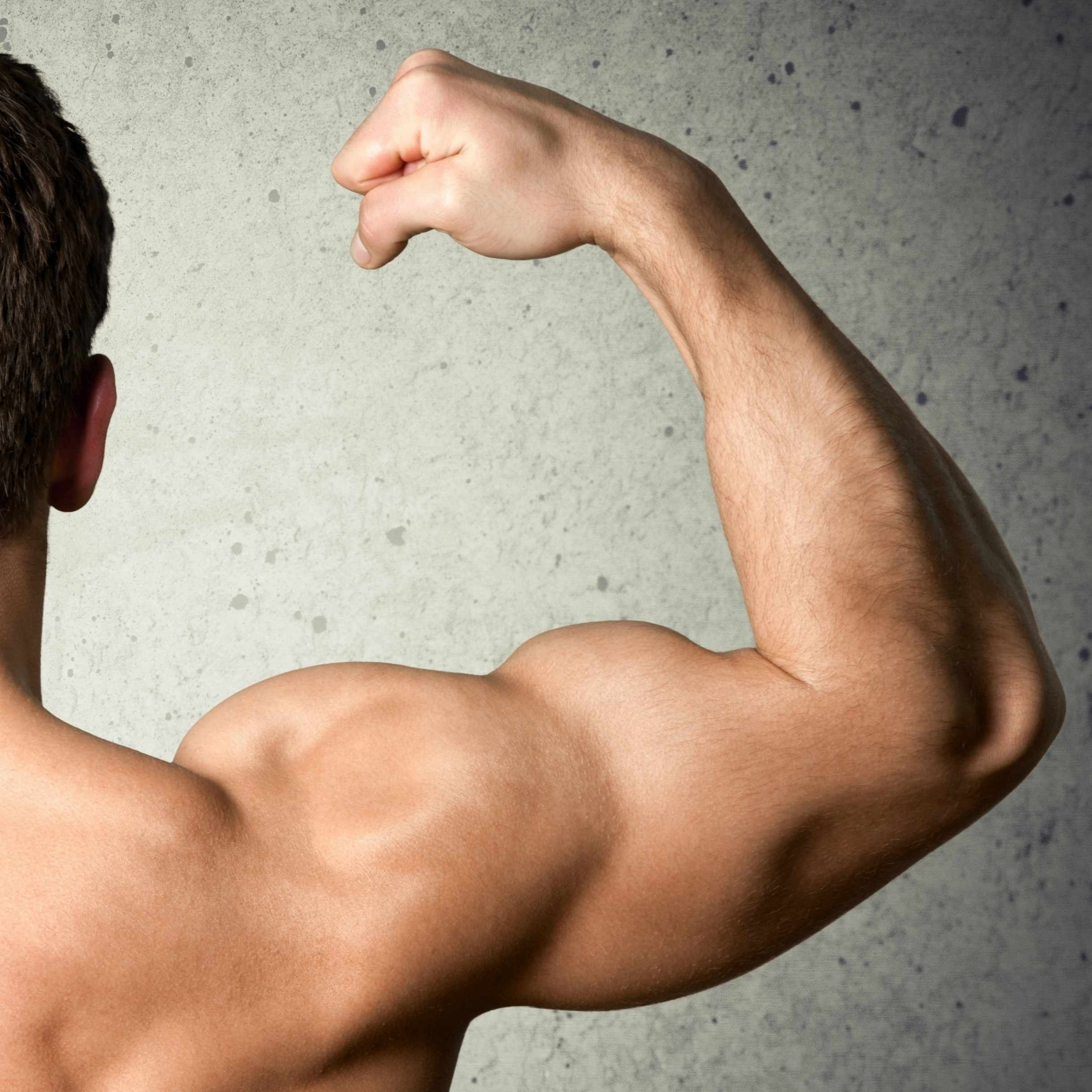 a young man flexing his arm muscles
