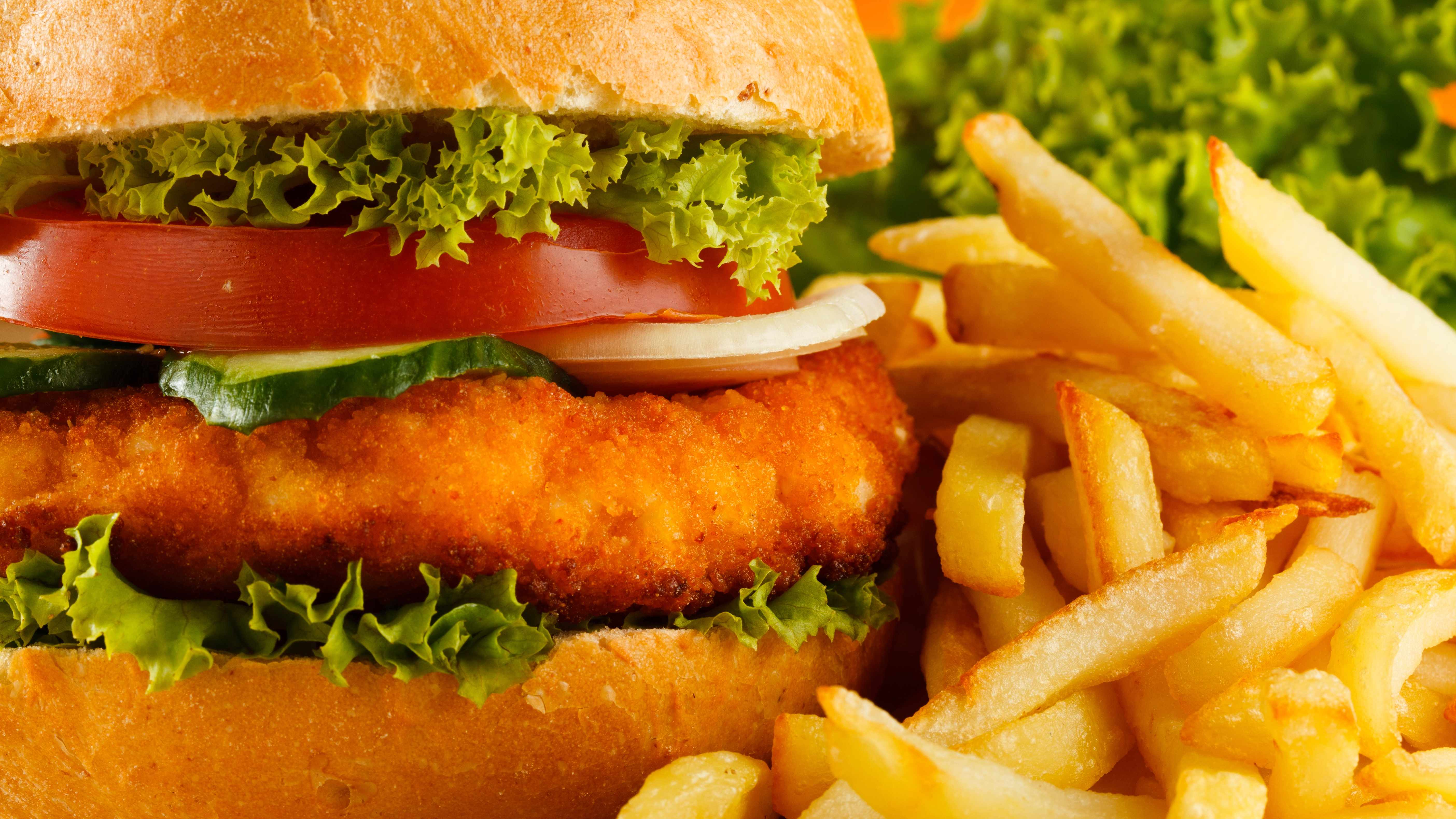 fast food meal, chicken sandwich, french fries