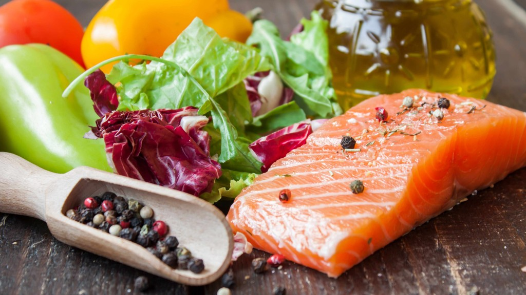 a sample mediterranean diet with fish, nuts, vegetables and olive oil