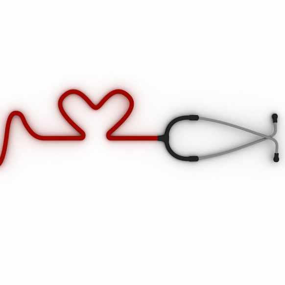 DO NOT USE THIS IMAGE stethoscope with tubing arranged to look like an ECG tracing and a heart