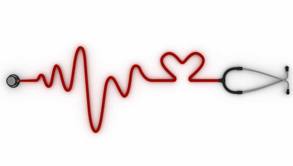 stethoscope with tubing arranged to look like an ECG tracing and a heart