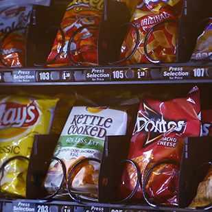 potato chips in a vending machine