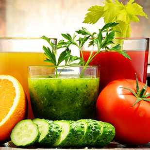 five glasses of diet health shakes with fruit and vegetables