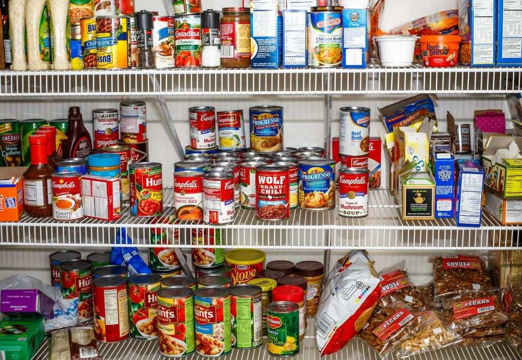 food pantry filled with cans and bags of food