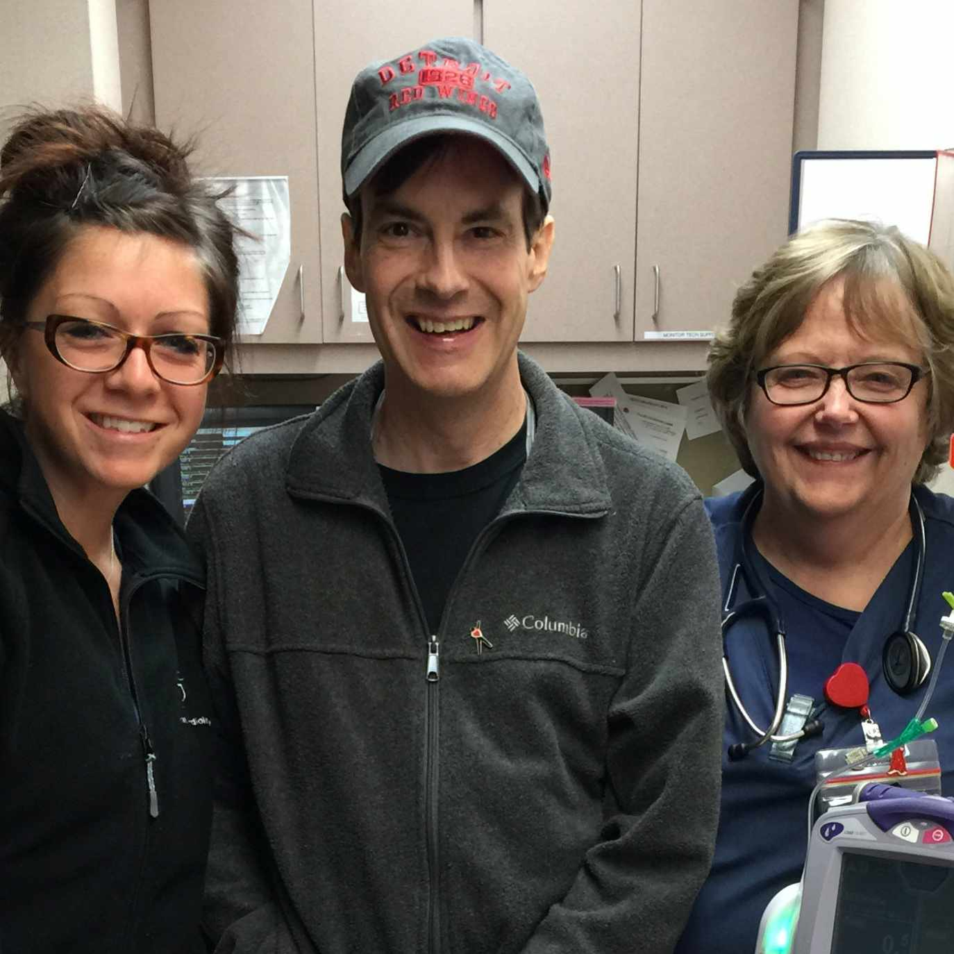 transplant patient Randy with hospital care nurses