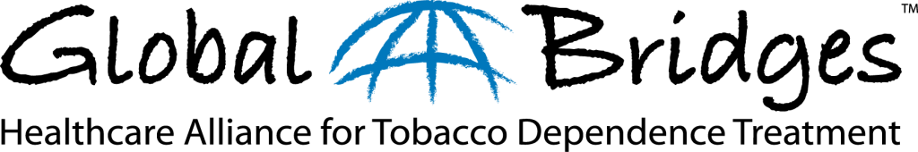 Logo with the words Global Bridges Healthcare Alliance for Tobacco Dependence Treatement