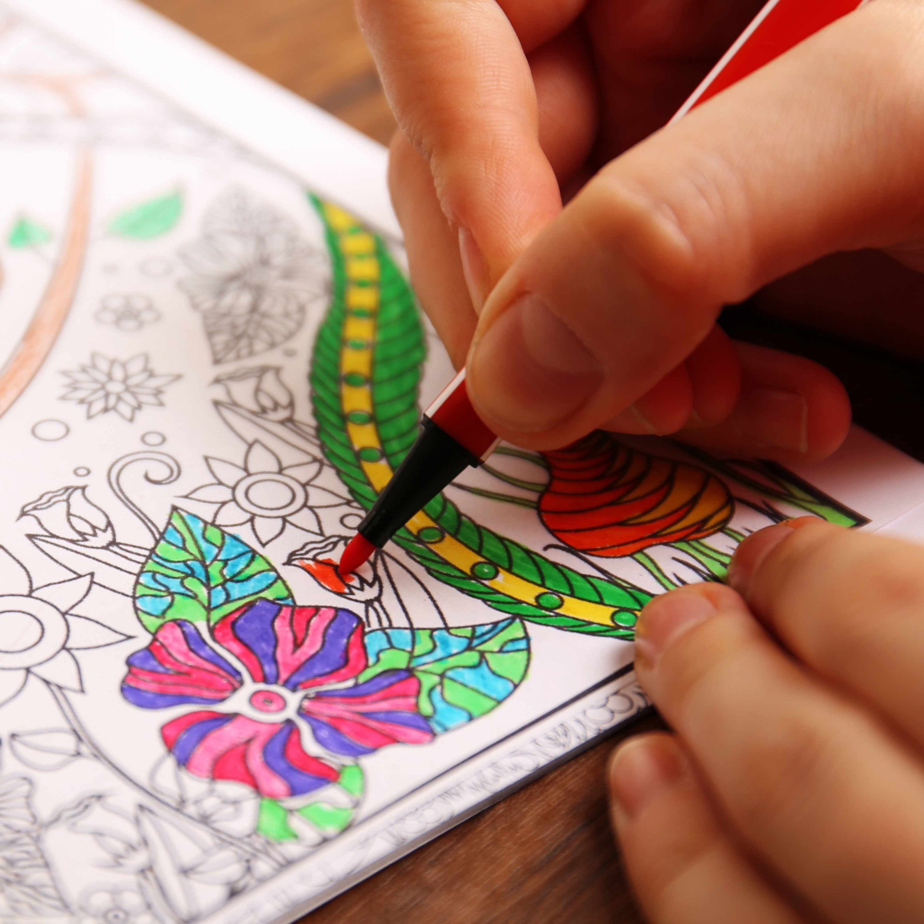 a person using coloring pens and pencils in a coloring book