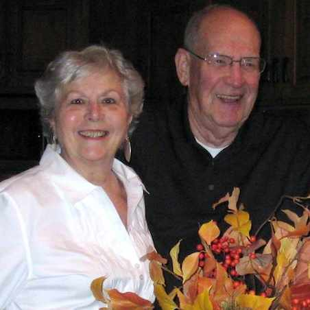 patient Bridget Clausen with her husband Bill at a party