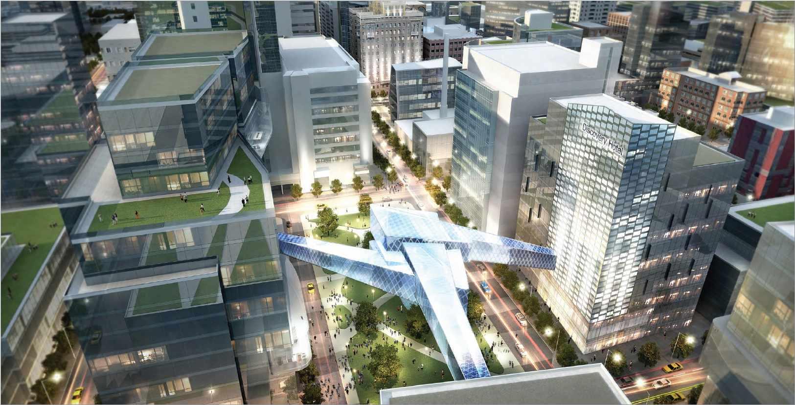 Ilustración aérea de Discovery Square