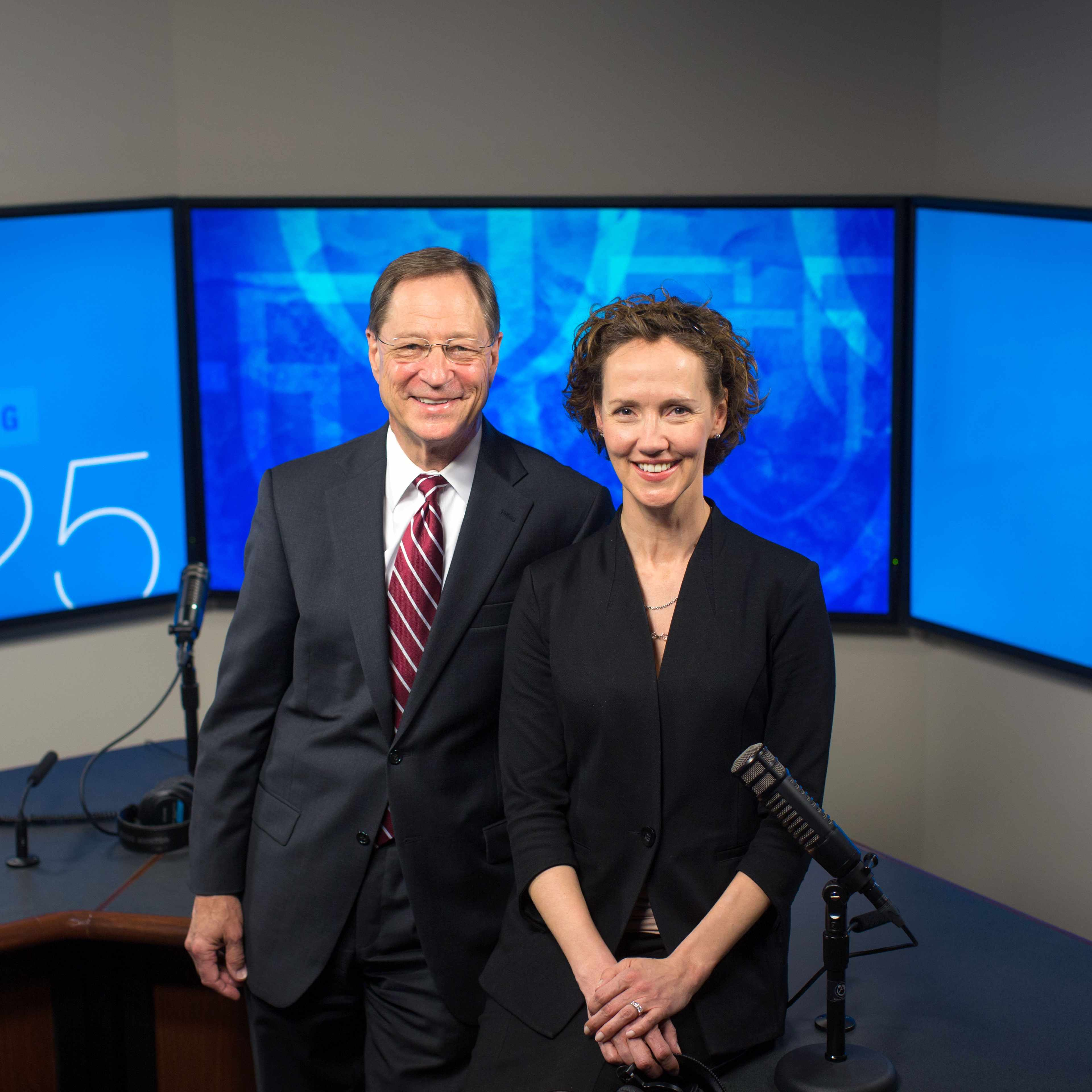 Dr. Tom Shives and Tracy McCray on the set of Mayo Clinic Radio