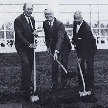 Drs. Richard Weeks, Robert Waller and Leo Black at the groundbreaking ceremony for the 1990 Florida campus expansion