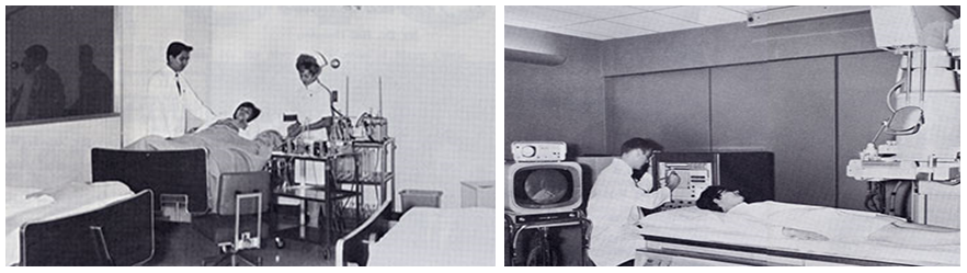 GI Unit composite - Dr. V.L.W. Go and nurse supervisor Betty Lee Stubbs in the new patient study area, and x-ray technician Dale Mulholland in the x-ray room