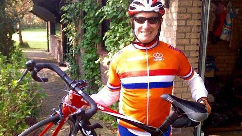 patient Jim Davis with his racing bicycle