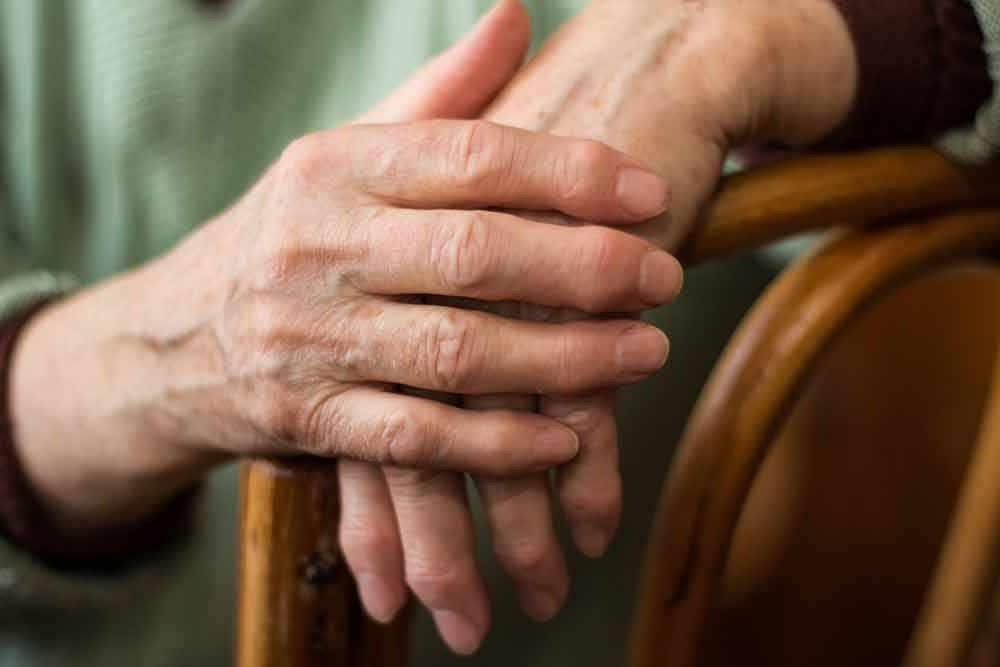 close-up of elderly hands