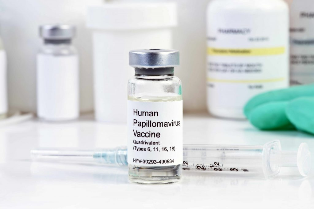 HPV vaccine with syringe and medicine vile