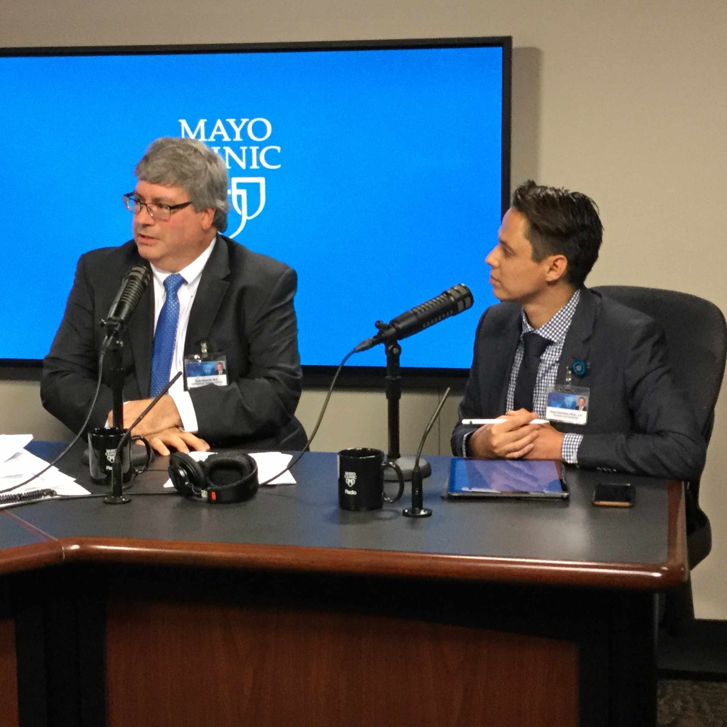 Dr. Todd Nippoldt and Dr. Cesar Gonzalez being interviewed on Mayo Clinic Radio