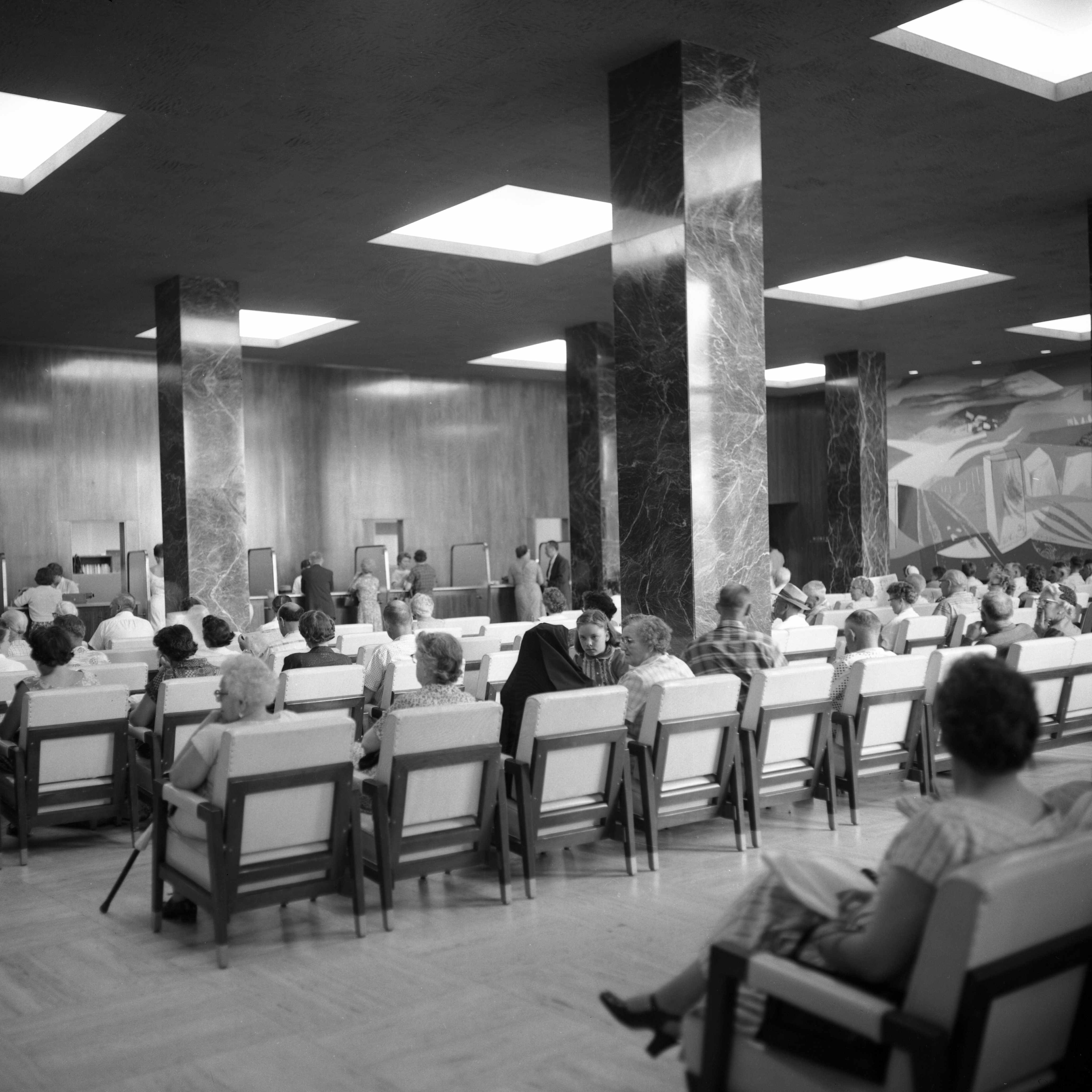 a 1959 Mayo Clinic waiting room full of patients