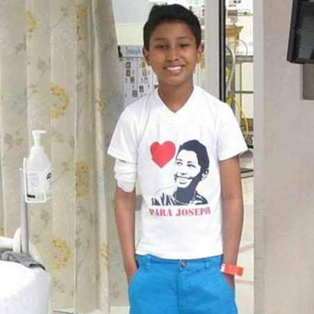 pediatric patient Joseph Gonzalez-Salas standing in his hospital room