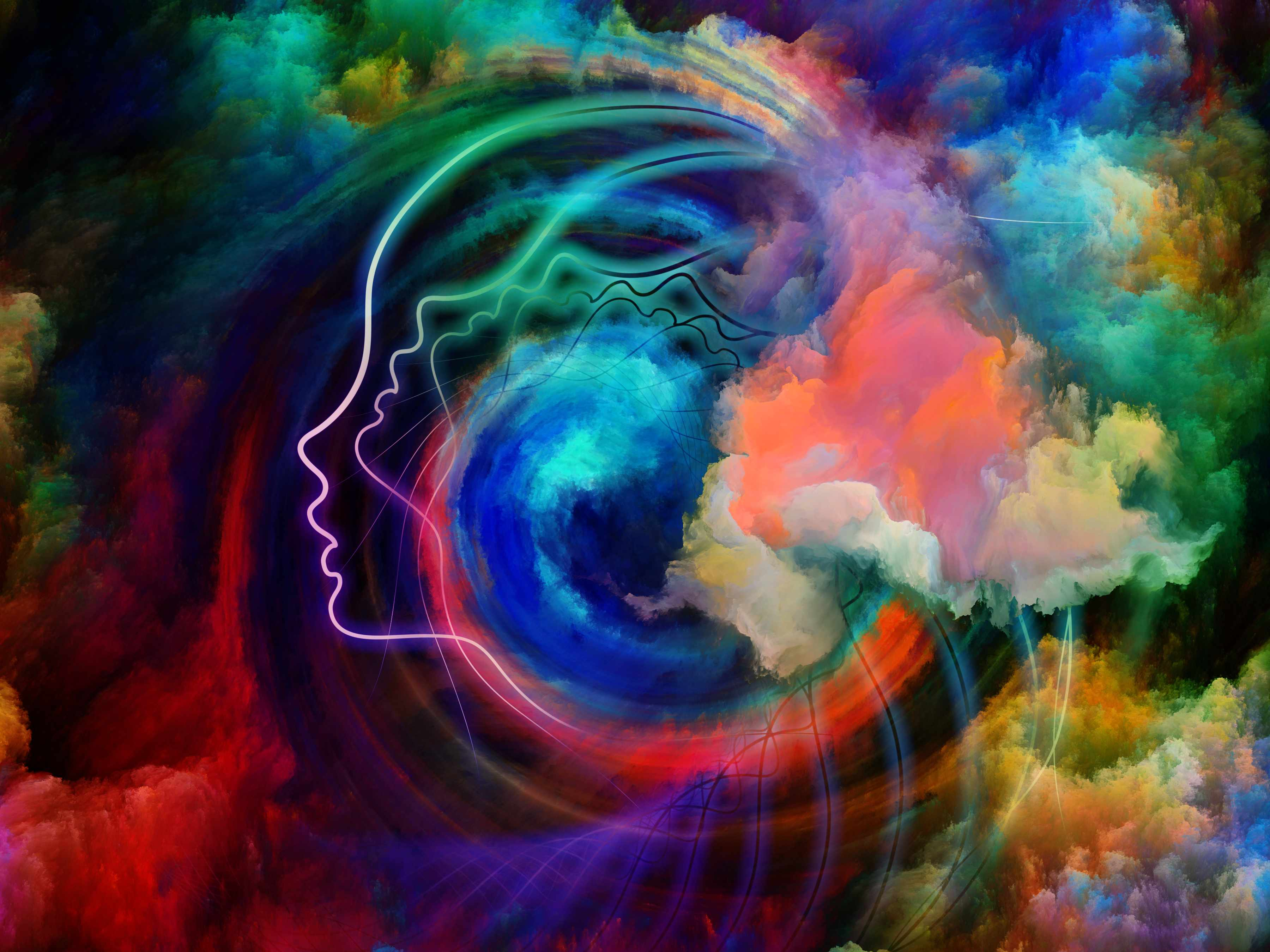 a drawing of a person's head with colors representing inner reality, mental health, thinking and dreaming