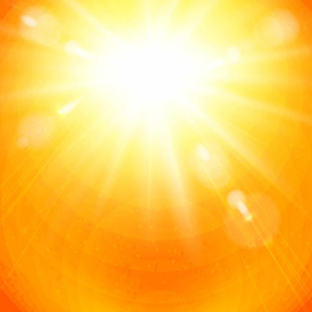 bright yellow and orange sunlight with sunrays