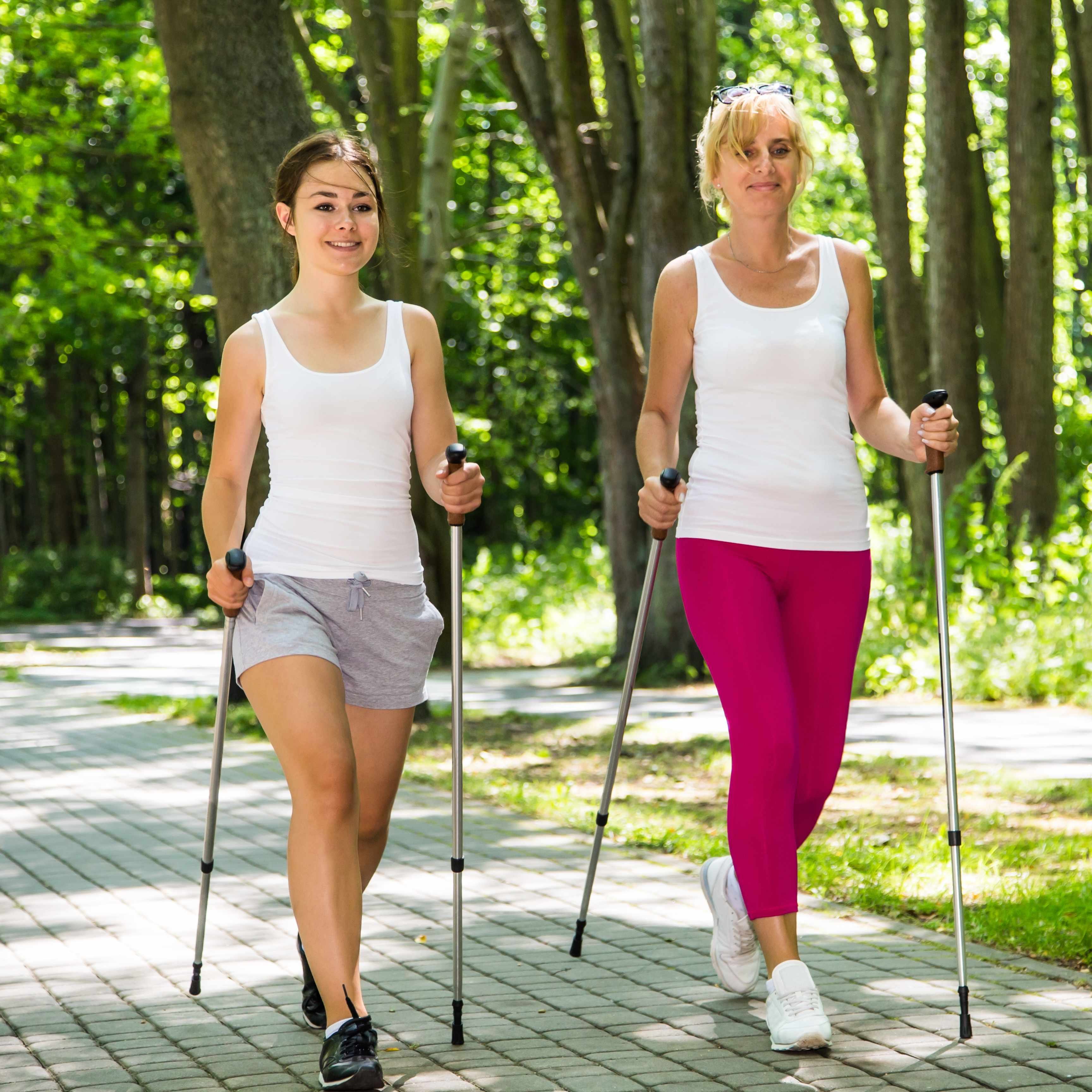 two women Nordic walking in a park