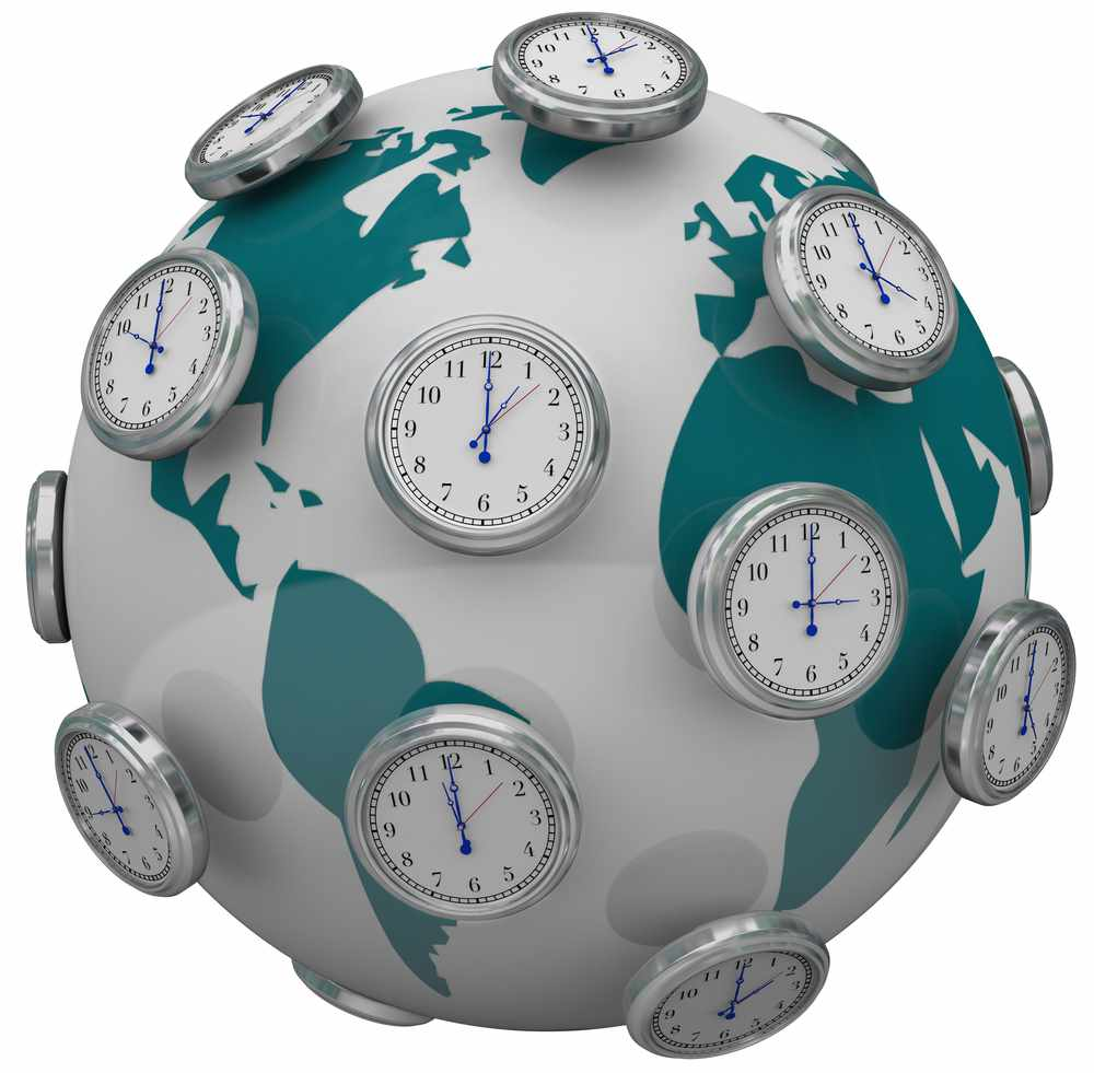 a graphic of a globe with several clocks set to different times, illustrating time zones, jet lag