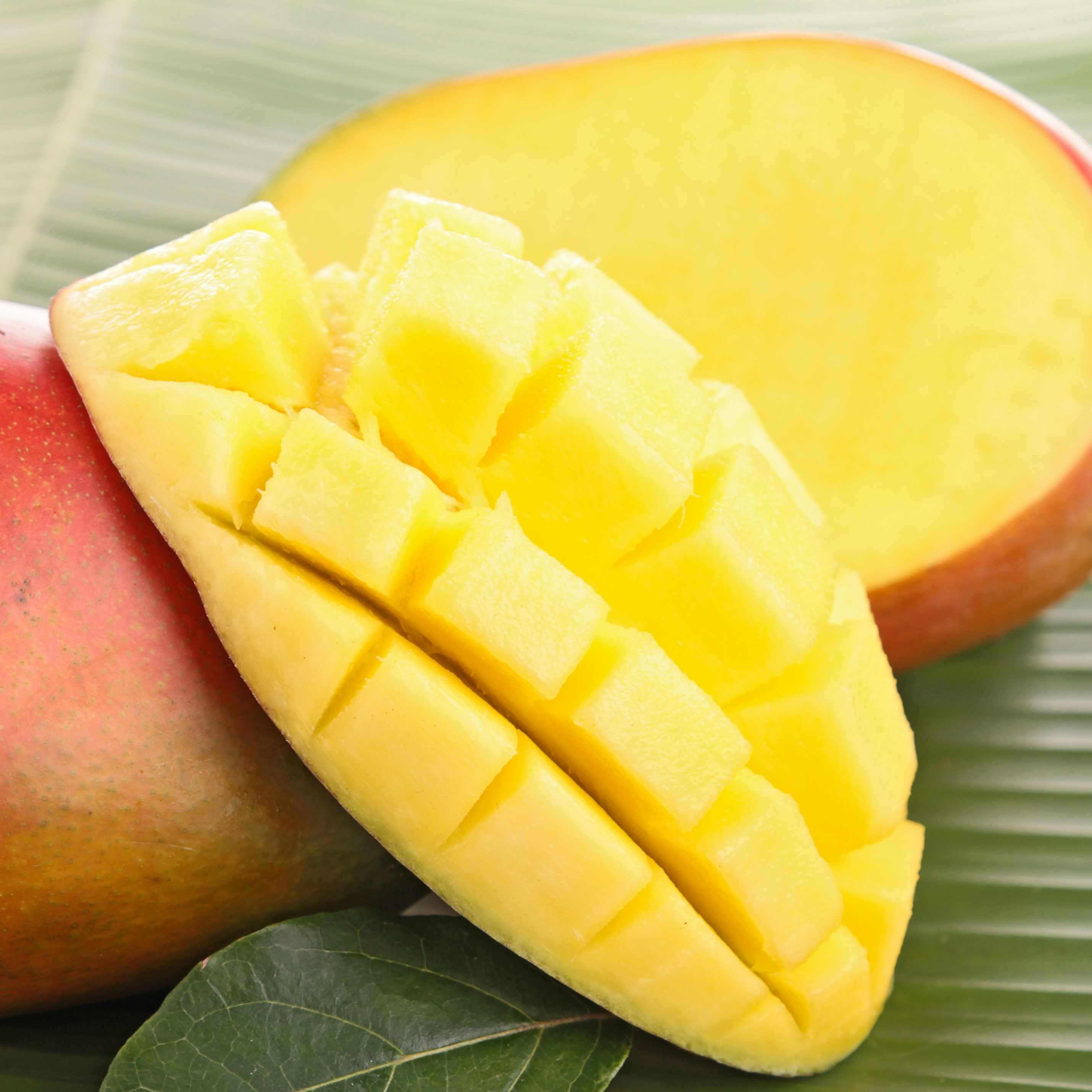 close up of a freshly sliced mango fruit