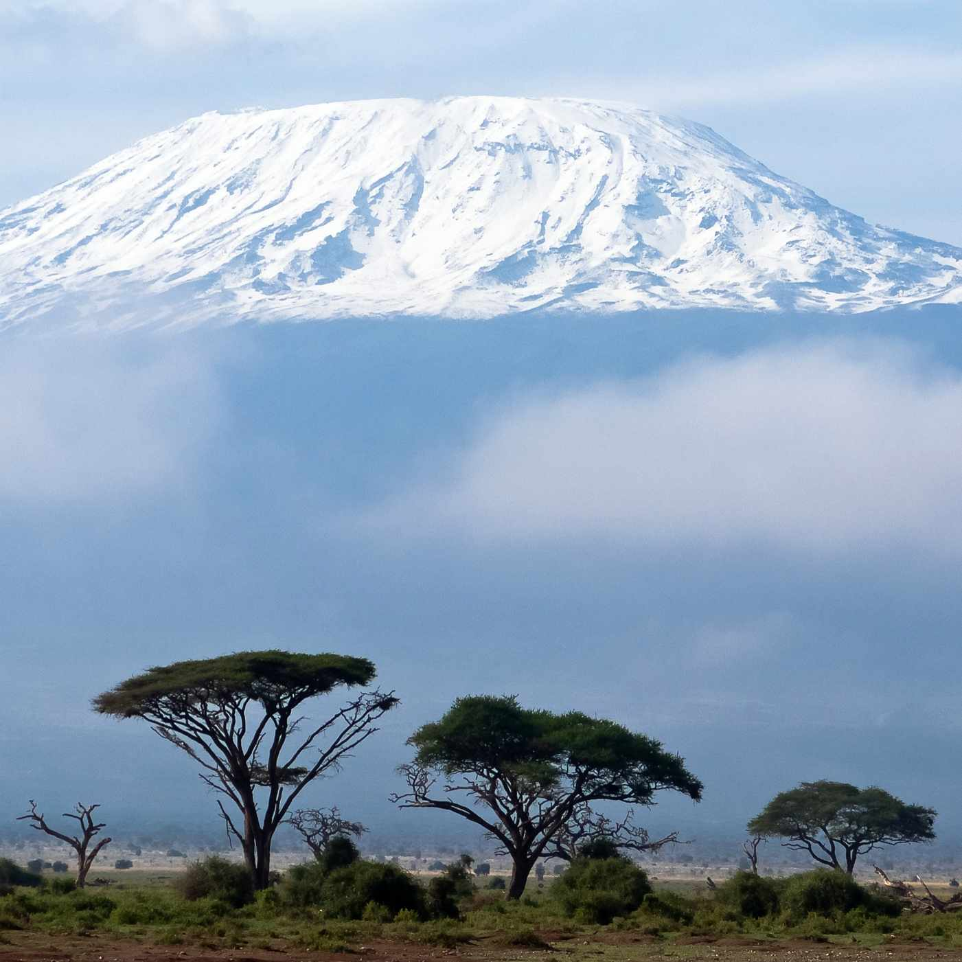 long distance photo of Mt. Kilimanjaro in Africa