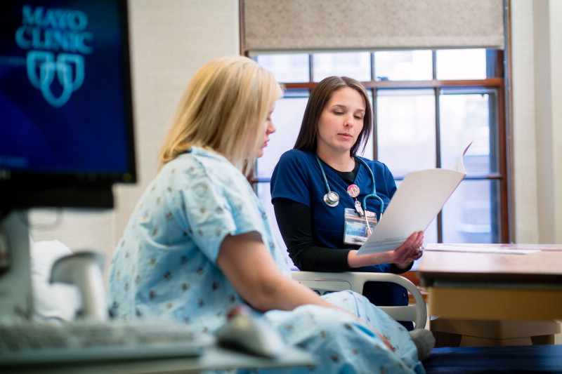 Mayo Clinic nurse discussing care with patient