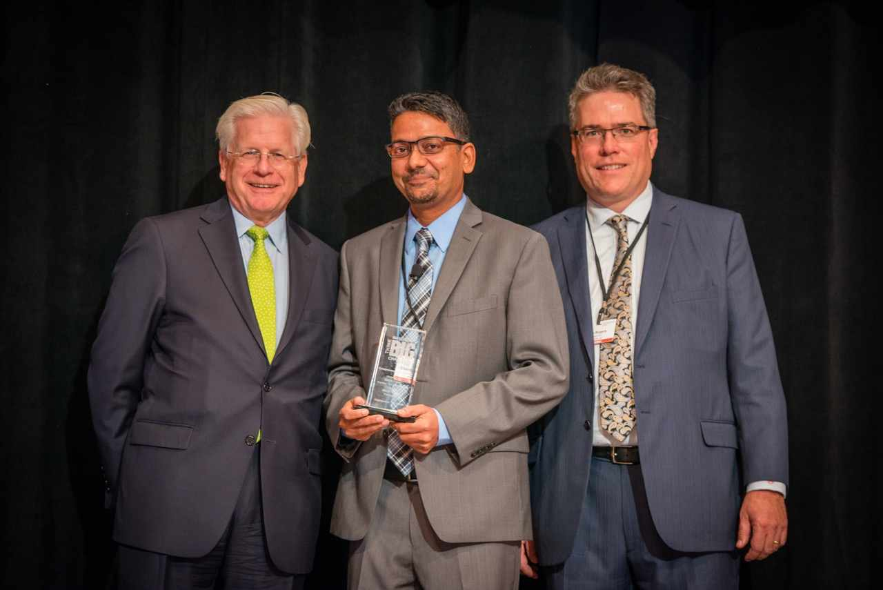 2016 Think Big winner Shantanu Nigam with Dr. Doug Wood on left and Jim Rogers on right