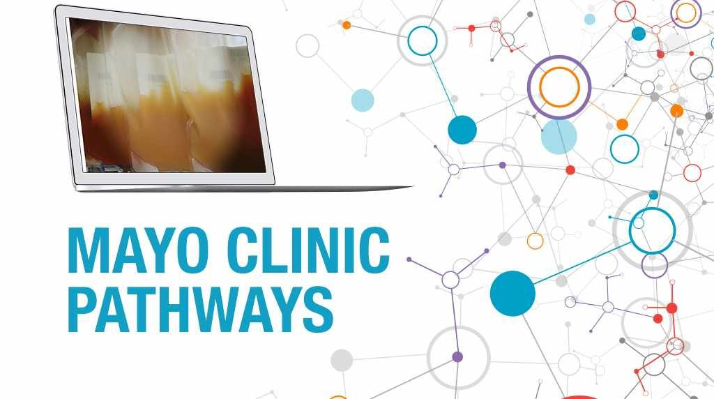 PathWays banner with an image of indeterminate transfusion bags on a computer screen