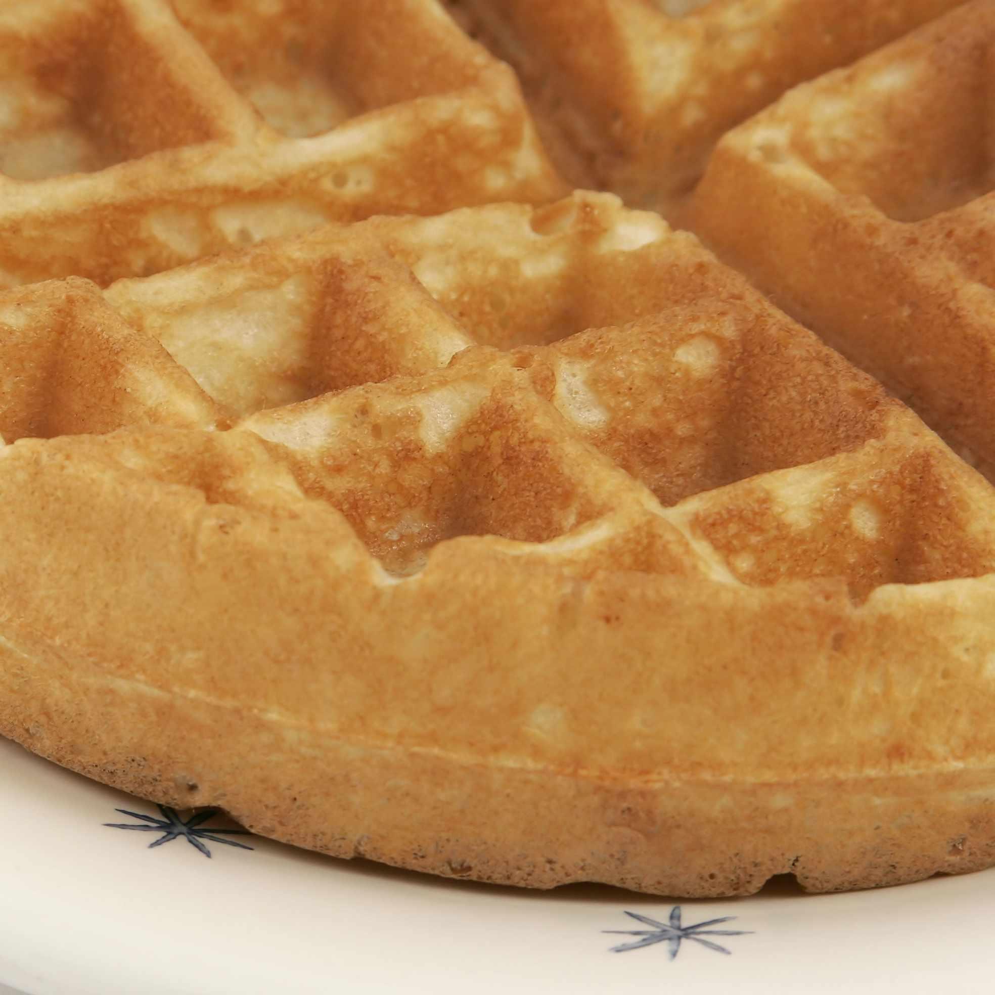 a plate of breakfast waffles