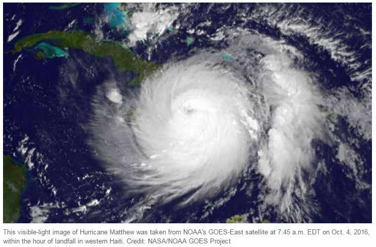 NOAA picture from space of Hurricane Matthew Oct. 4