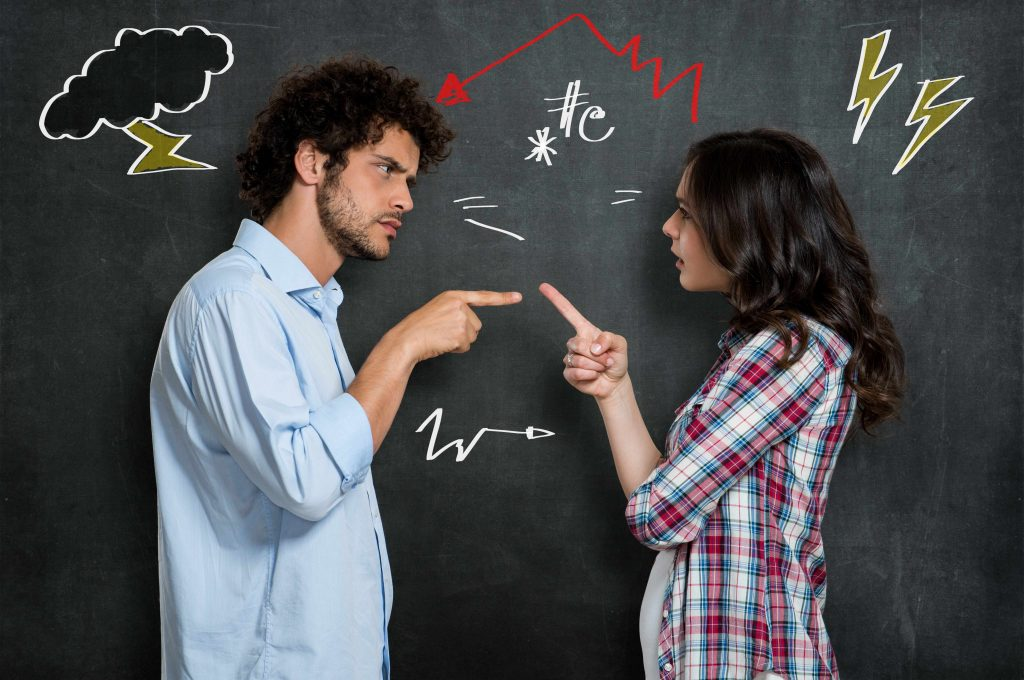 a man and a woman arguing, with symbols on the background behind them illustrating stress, angry feelings, discord