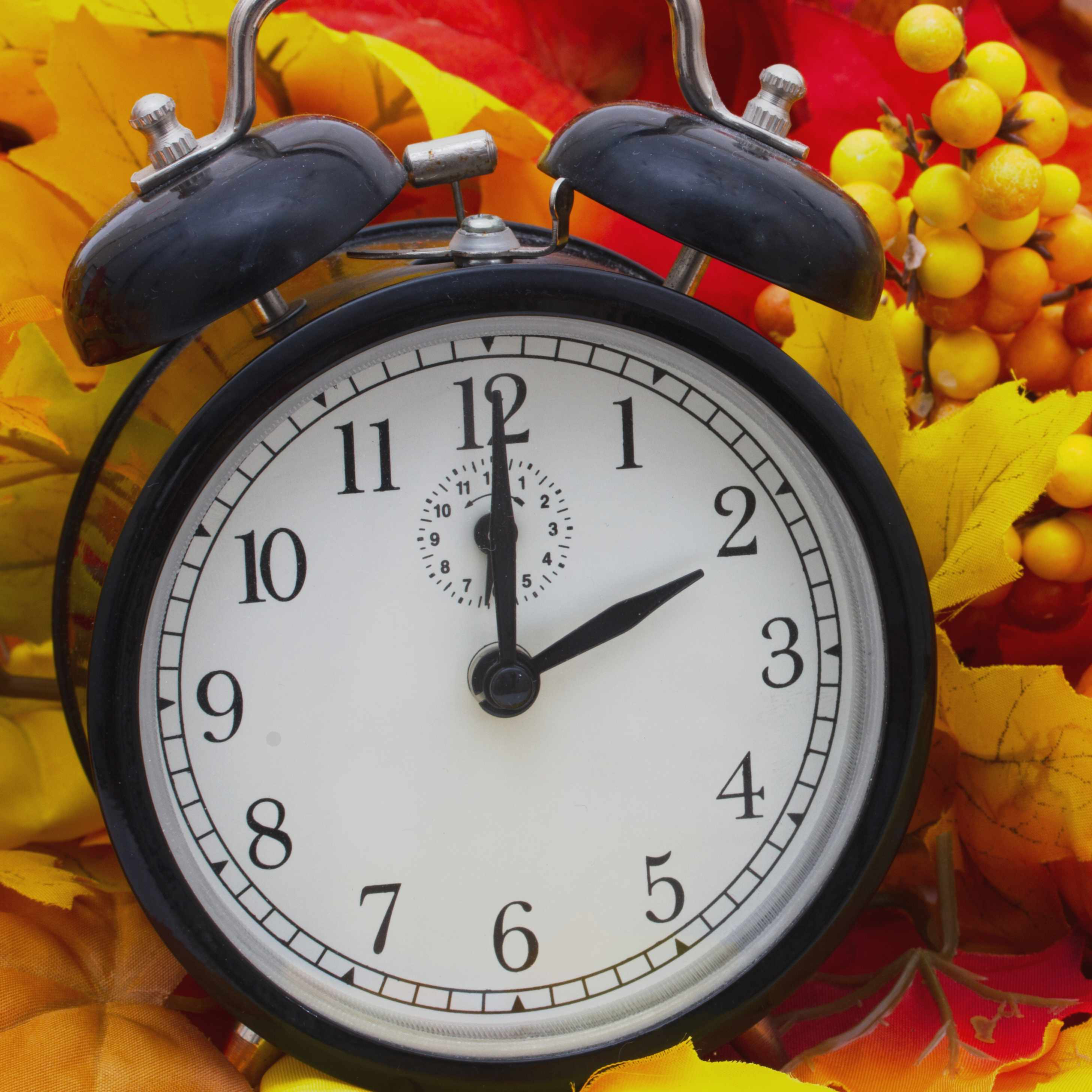 Autumn time change with an alarm clock and Autumn leaves with a pumpkin